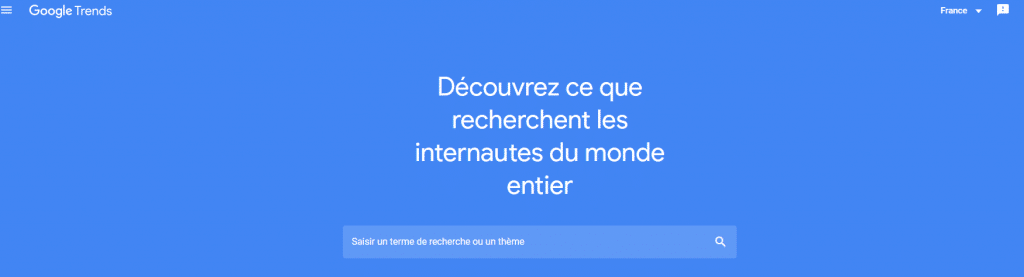 Page accueil Google Trends